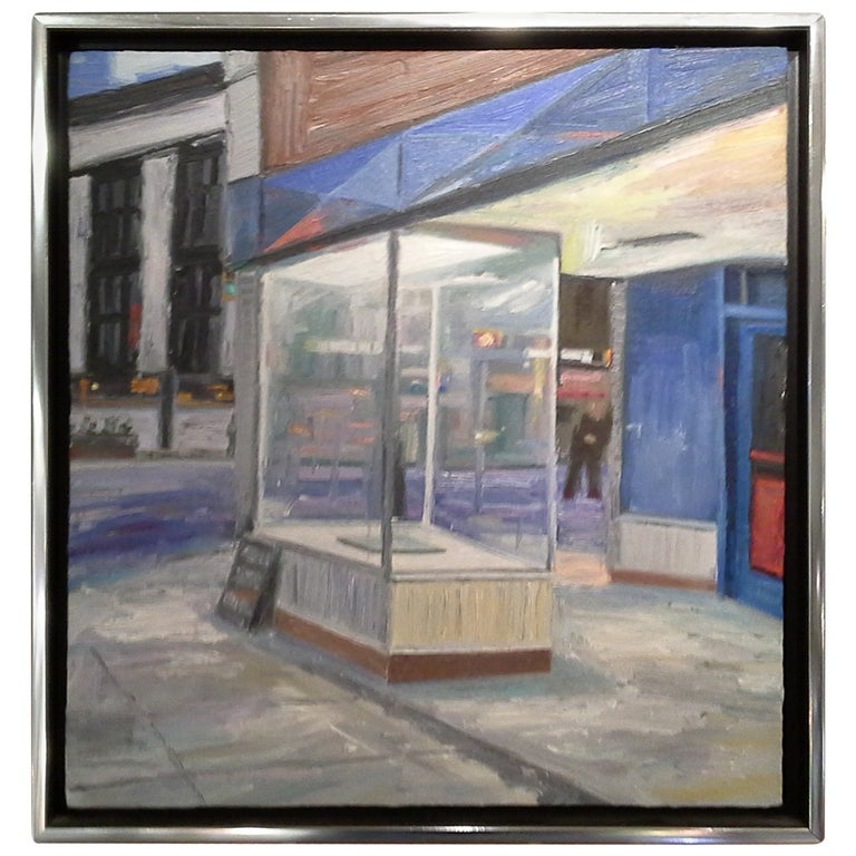 Oil Painting on Wood Board by Brian Kipping Store Front in Vancouver, BC For Sale