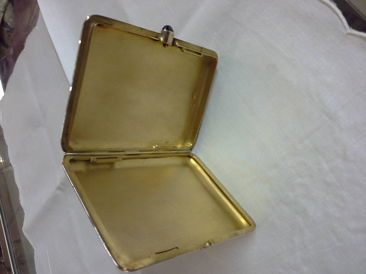 Grand Tour Russian Cigarette Case, .56-Mark, 14k Rose Gold and Sapphire, by Michael Perchin For Sale