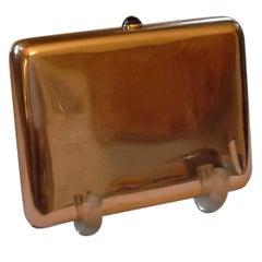 Russian Cigarette Case, .56-Mark, 14k Rose Gold and Sapphire, by Michael Perchin