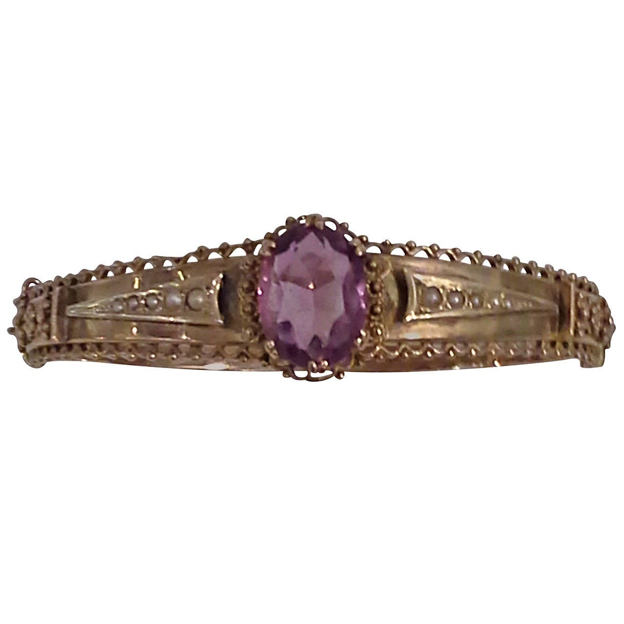 Victorian Amethyst And Seed Pearl Bangle Or Bracelet 9k Gold, Stamped 375 1