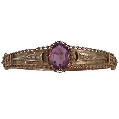 Victorian Amethyst and Seed Pearl Bangle or Bracelet 9k Gold, Stamped .375
