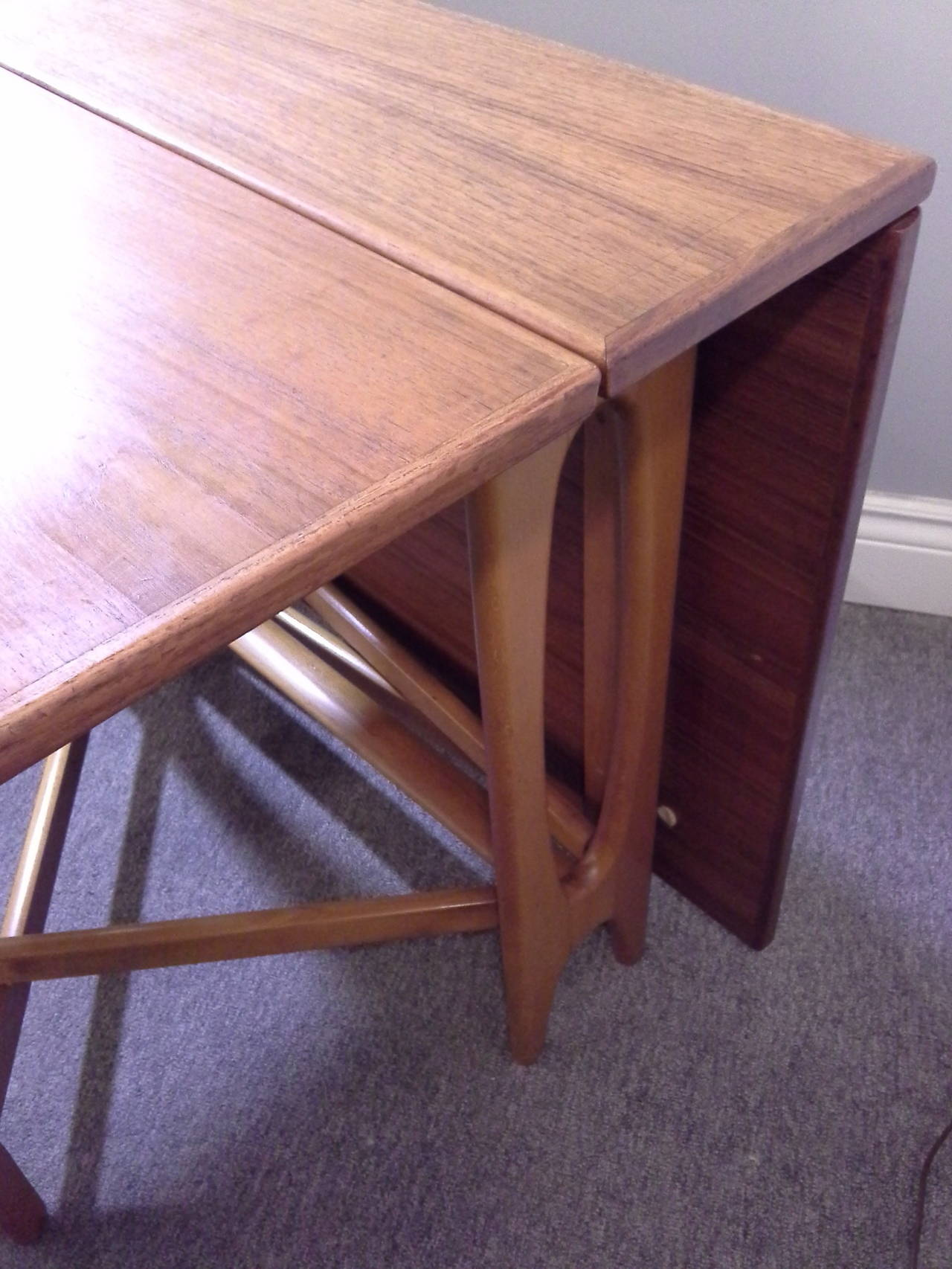 Teak Mid-Century Modern Bruno Mathsson Style, Drop-Leaf Dining Table 2