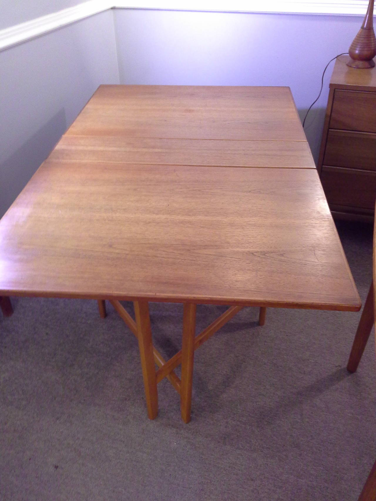 Teak Mid-Century Modern Bruno Mathsson Style, Drop-Leaf Dining Table 3