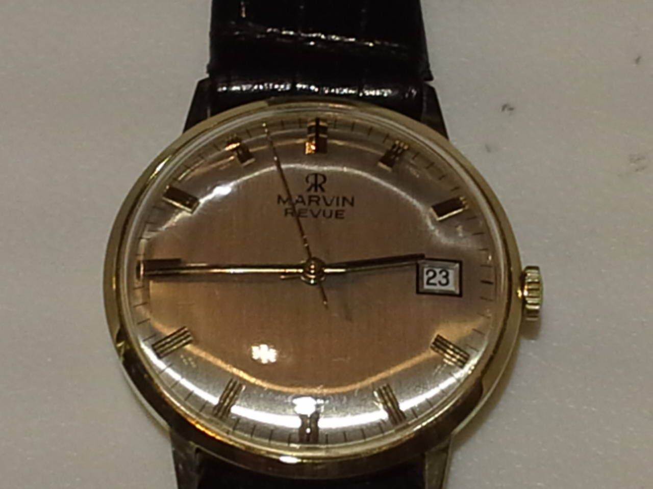 Swiss Marvin Revue Day or Date Gold Wristwatch with Original Bracelet in Original Box