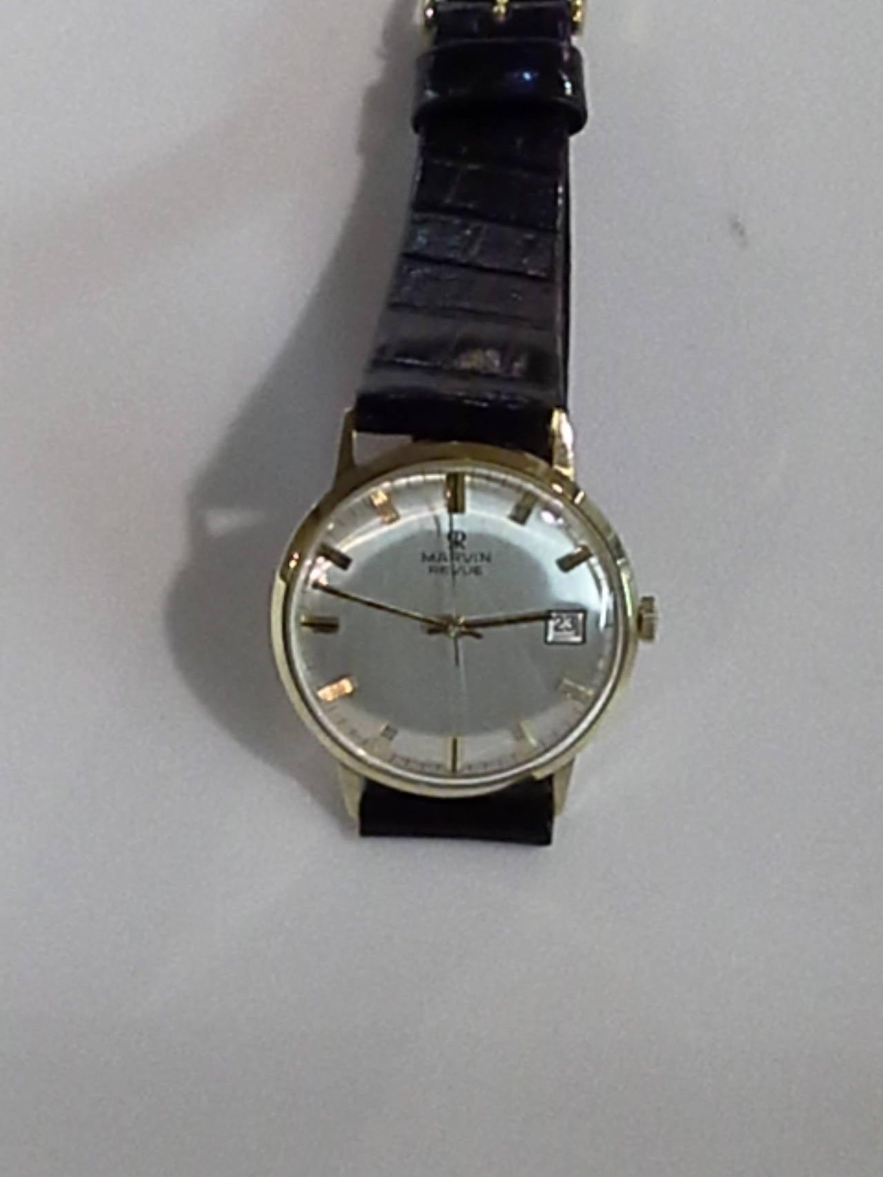 Modern Marvin Revue Day or Date Gold Wristwatch with Original Bracelet in Original Box