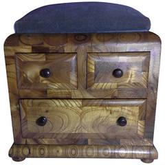 Carpathian Elm Needlepoint Sewing Box, circa 1860