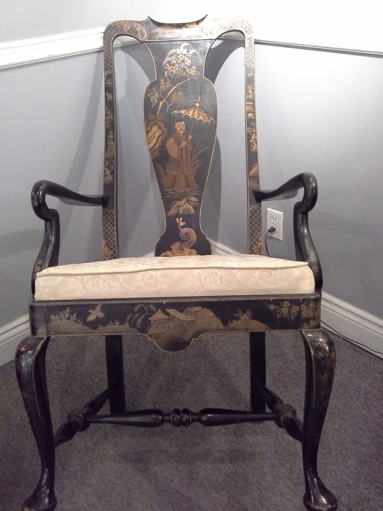 Midcentury Japaned Black Armchair Painted In Relief Scenes
