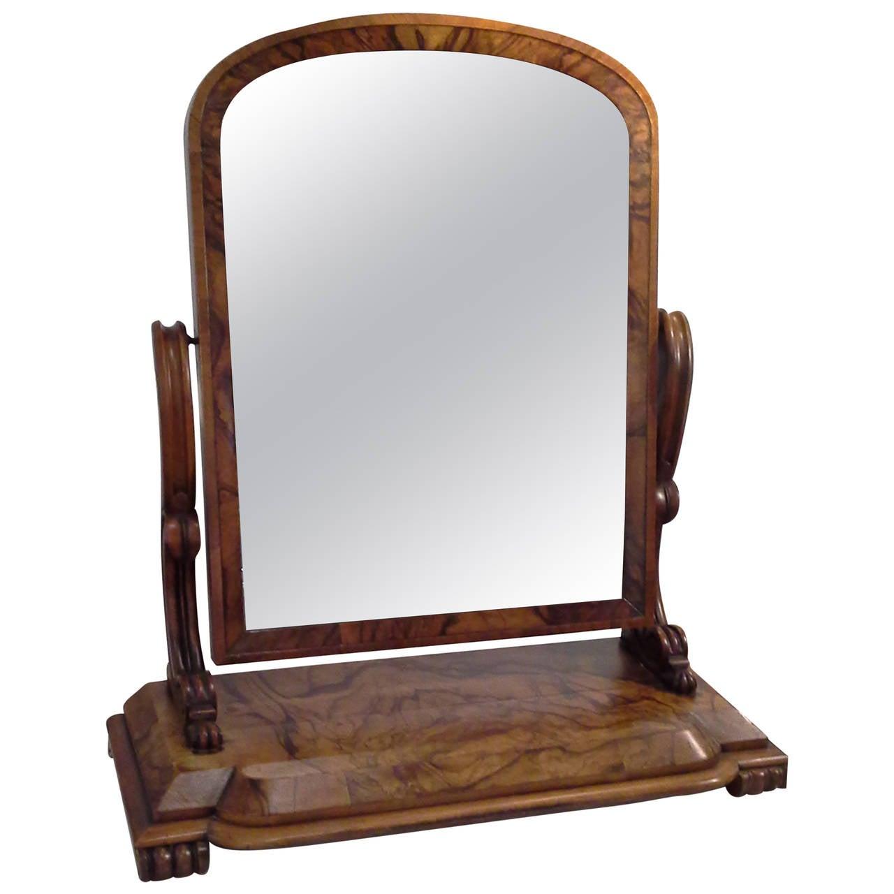 Burled Walnut Gentleman's Dressing Mirror on a Scrolled Bun Foot