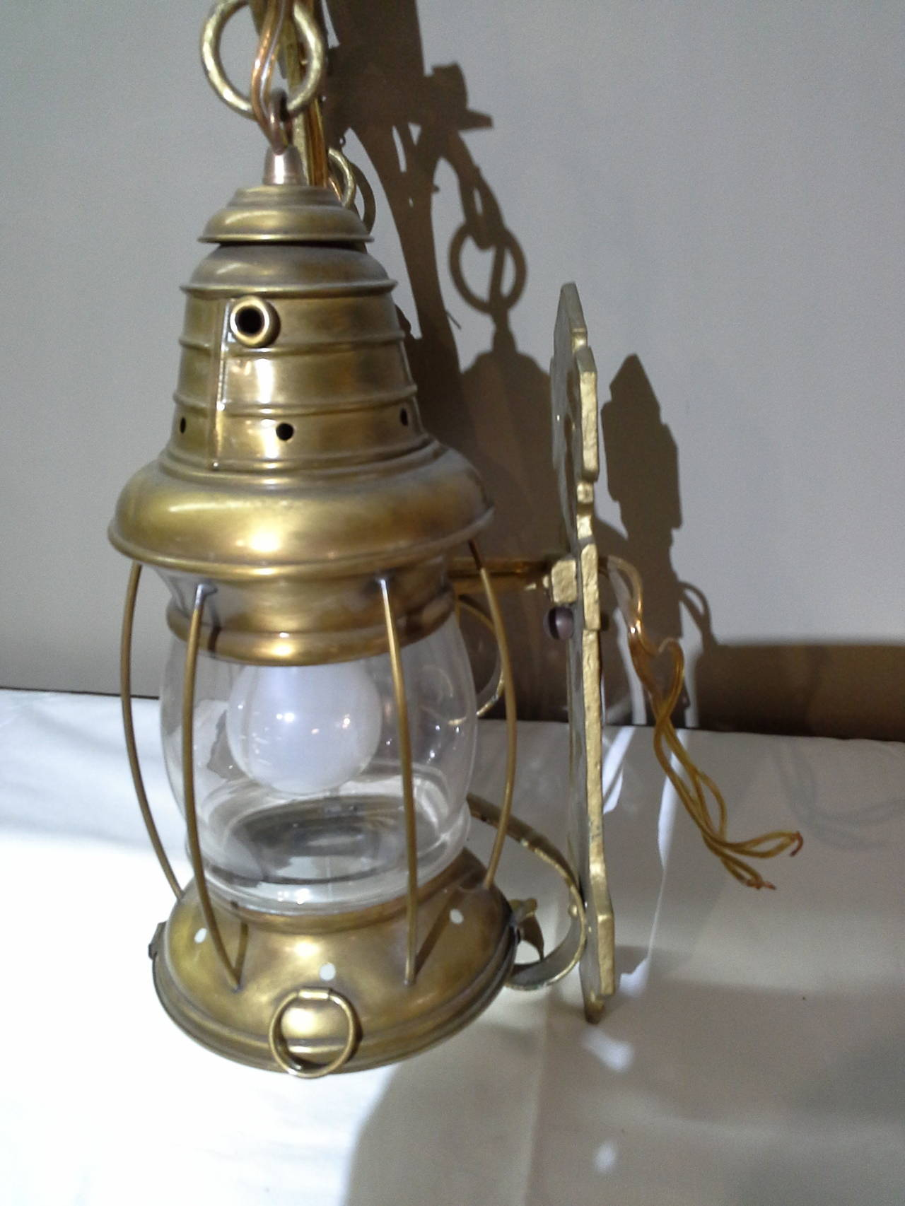 Wall Sconces Nautical : Nautical Lantern Cast Iron Wall Sconces with Sailboat Painted Tops at 1stdibs