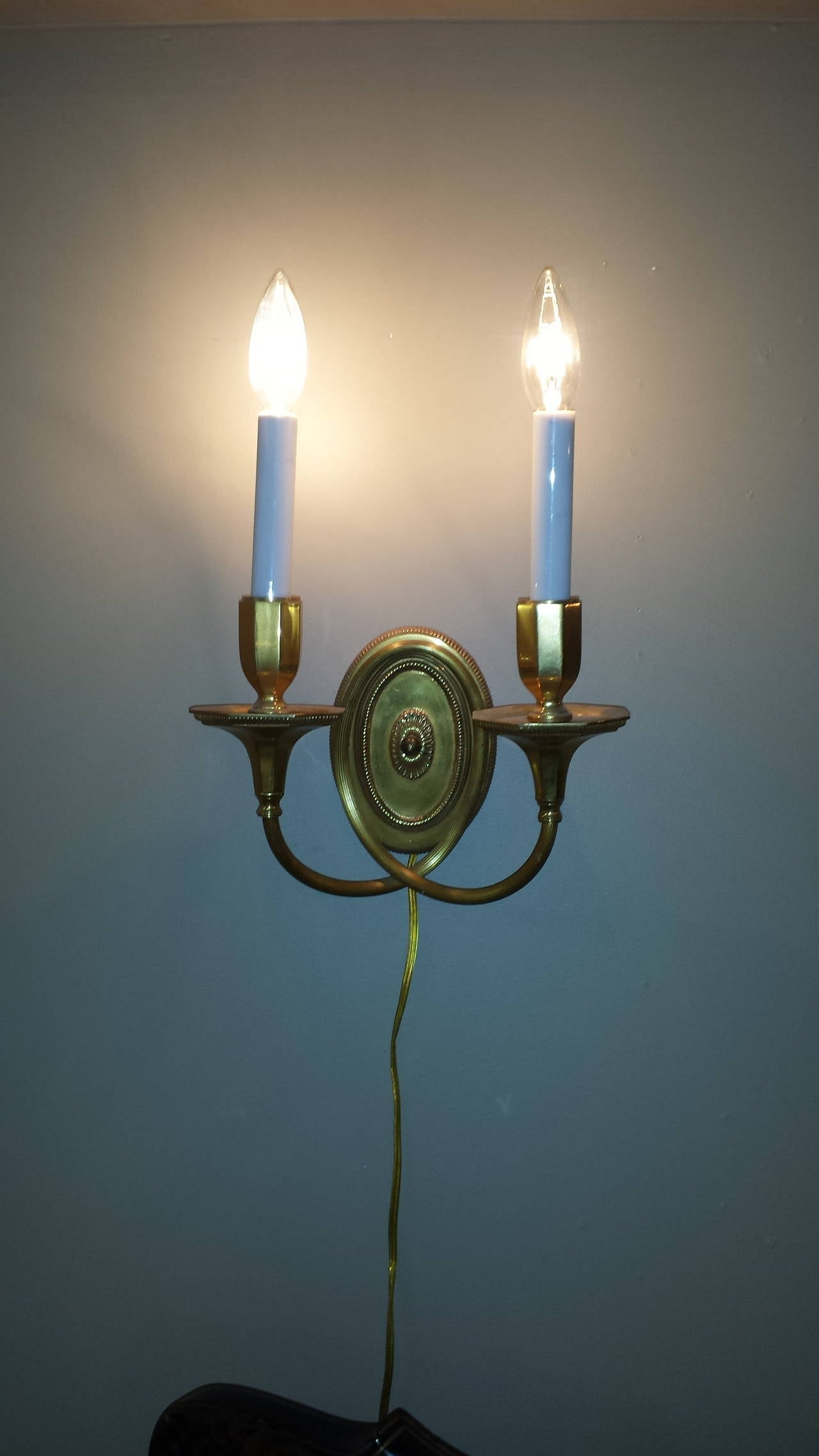 Wall Sconces Double : Solid Brass, Double-Arm Wall Sconces For Sale at 1stdibs