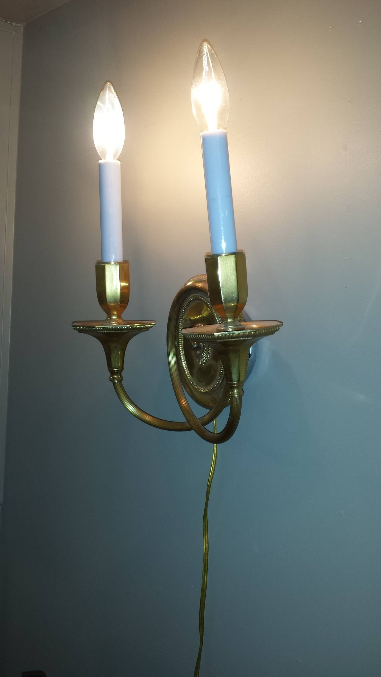 Solid Brass Wall Sconces : Solid Brass, Double-Arm Wall Sconces For Sale at 1stdibs