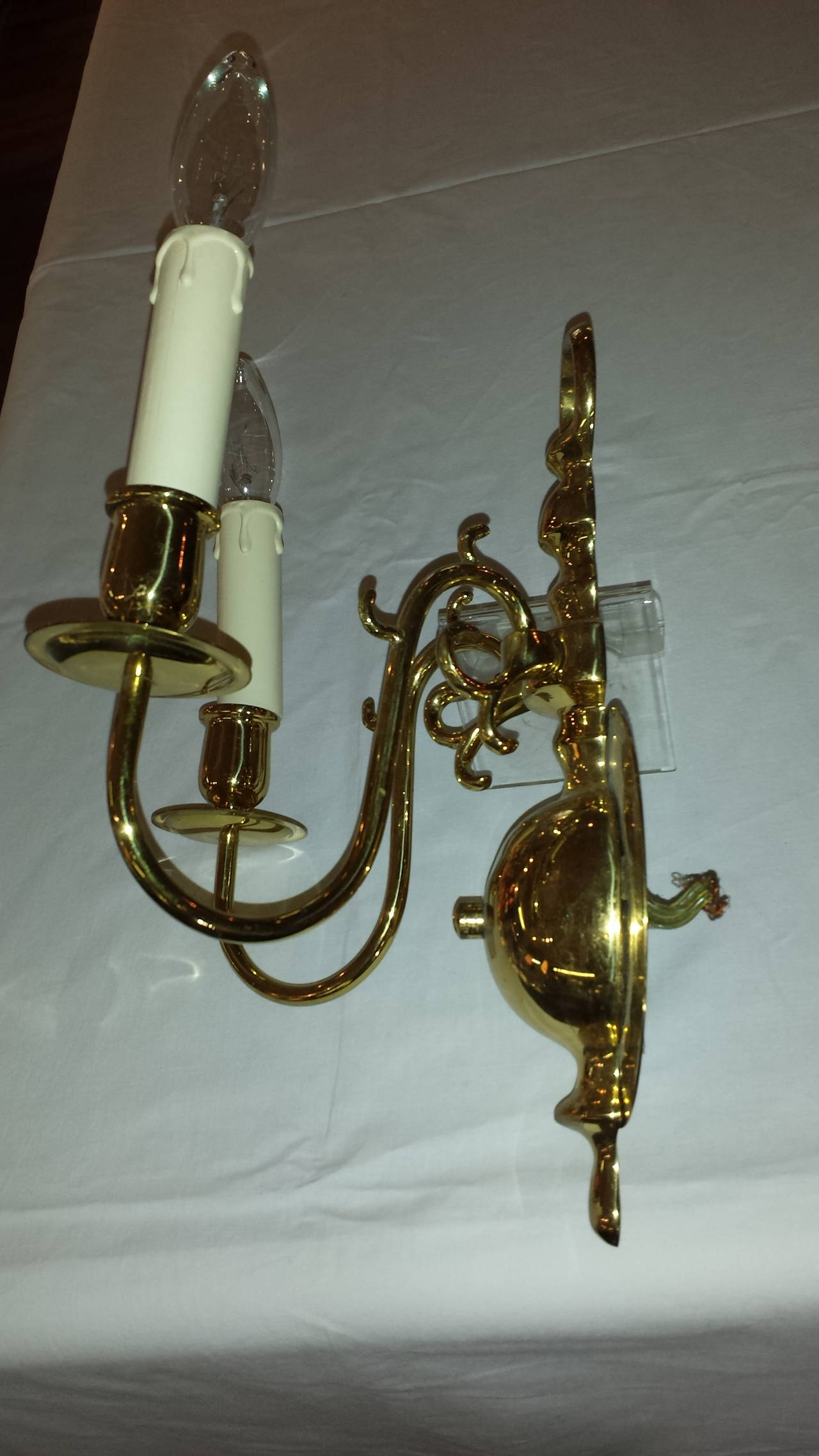 Wall Sconces Double : Georgian Style Solid Brass Double-Arm Wall Sconces at 1stdibs