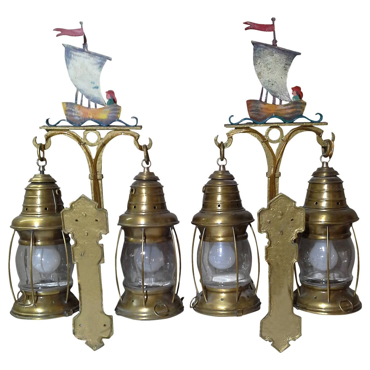 Wall Sconces Nautical: Nautical Lantern Cast Iron Wall Sconces With Sailboat