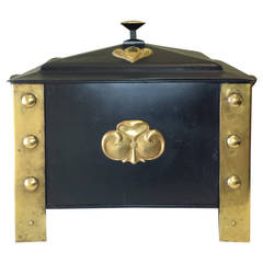 Arts & Crafts Style Wood or Ash Box in Brass and Steel with Liner