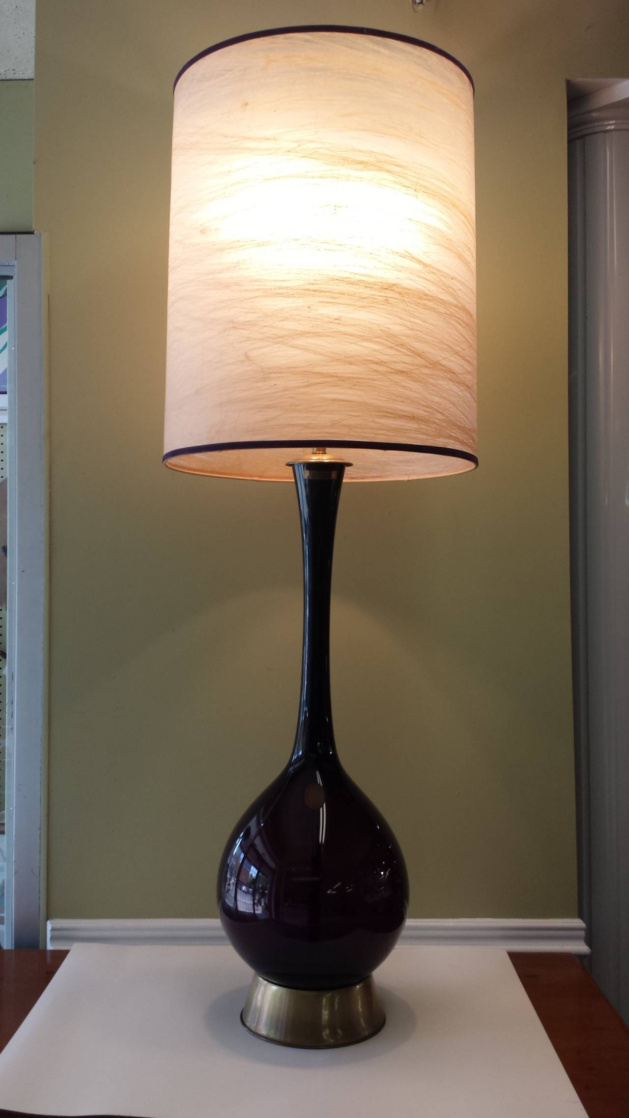 Tall Marbro Amethyst Swedish Handblown Glass Table Lamp At 1stdibs