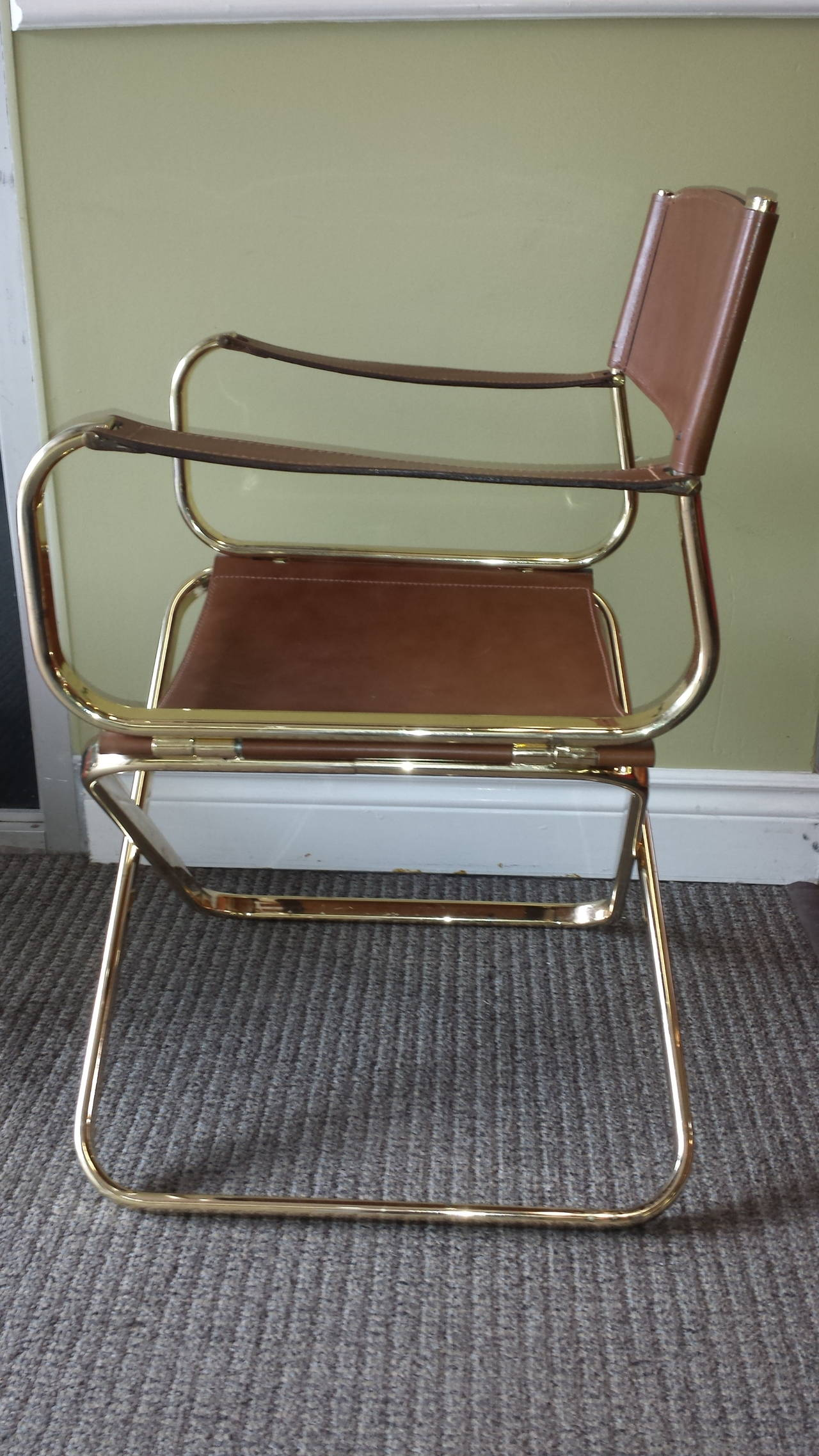 Mid Century Italian Designed Leather Folding Director s Chair by