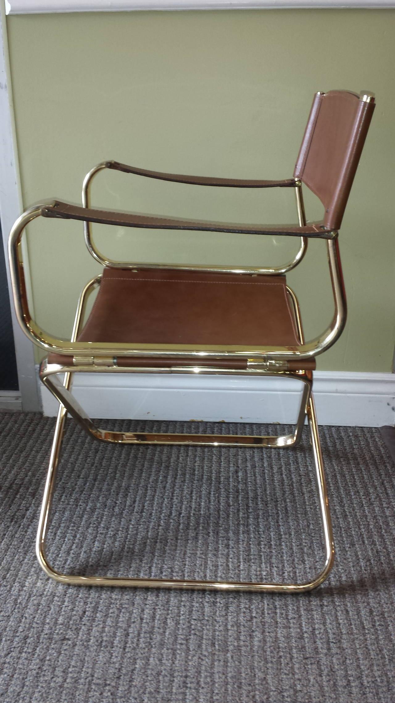 Mid Century Italian Designed Leather Folding Directoru0027s Chair By Arrben