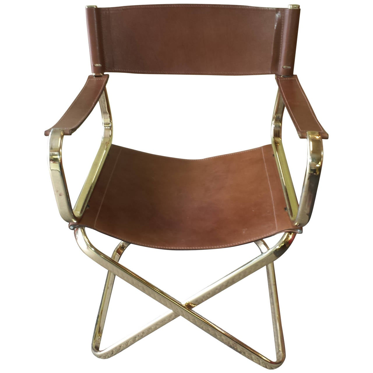 Mid Century Italian Designed Leather Folding Directoru0027s Chair By Arrben For  Sale