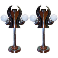 Mid-Century Chrome, Black Plexiglass and Oak Table Lamps, circa 1960s-1970s