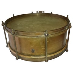 Brass Military or Marching Band Snare Drum, circa 1900