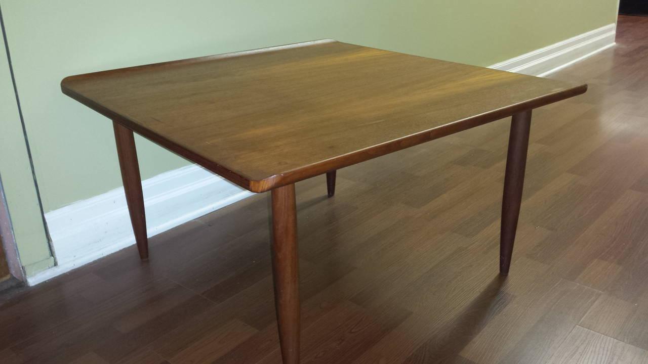 Mid Century Teak Square Coffee Table With Flip Edge Solid Slight