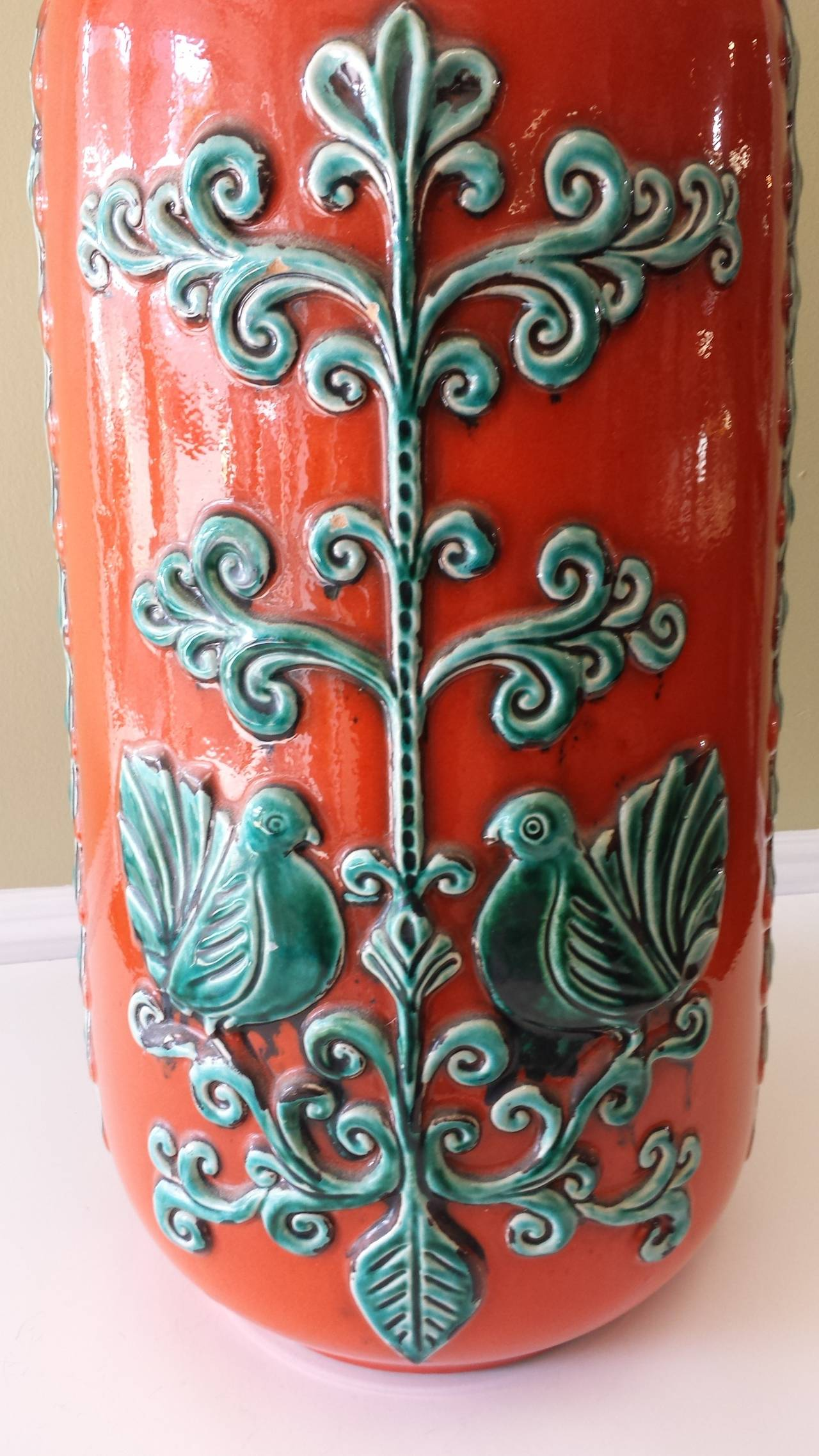 Large w germany burnt orange and turquoise vase with love birds mid century modern large w germany burnt orange and turquoise vase with love birds reviewsmspy
