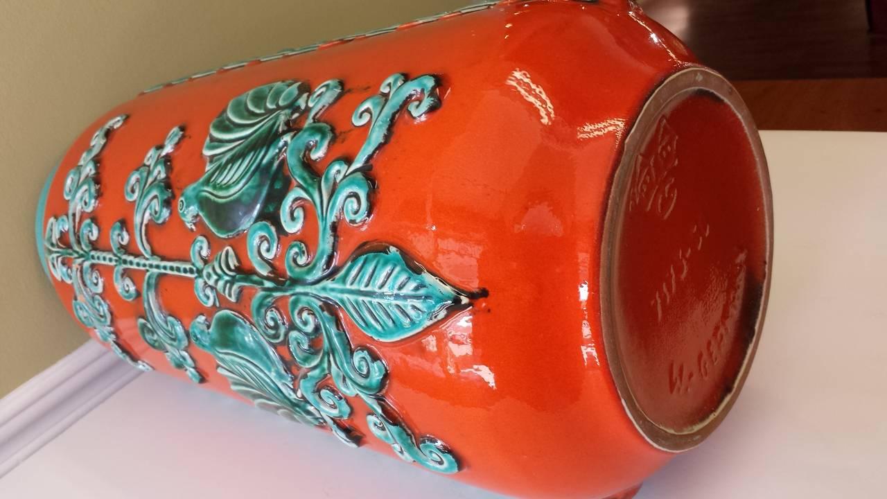 Large W Germany Burnt Orange And Turquoise Vase With Love