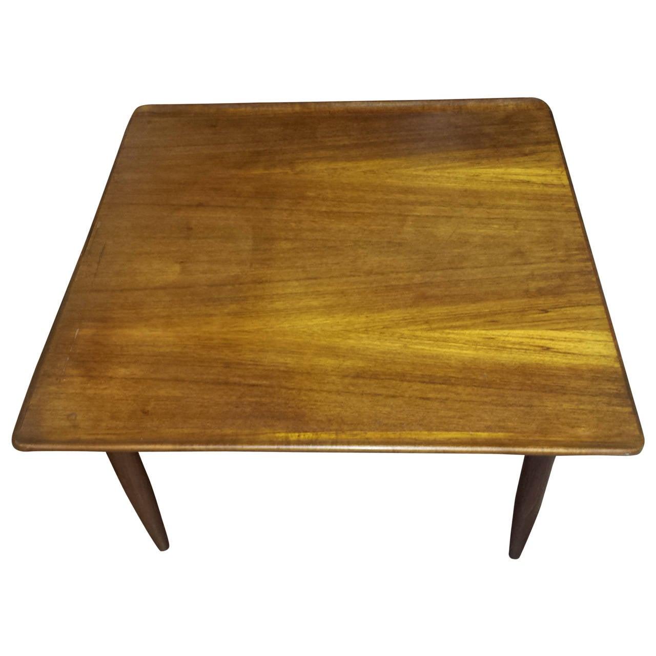 Mid Century Teak Square Coffee Table With Flip Edge At 1stdibs