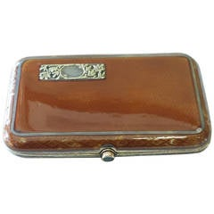 Russian Faberge Enemal Silver Gilt Cigarette Case, Gold with Sapphire Button