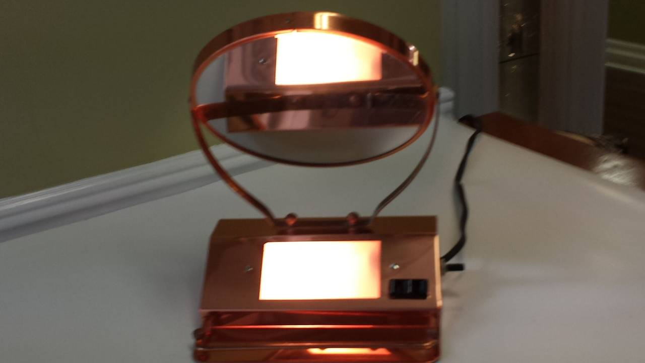 mid century solid copper lighted vanity double sided mirror with x plug for s. Black Bedroom Furniture Sets. Home Design Ideas
