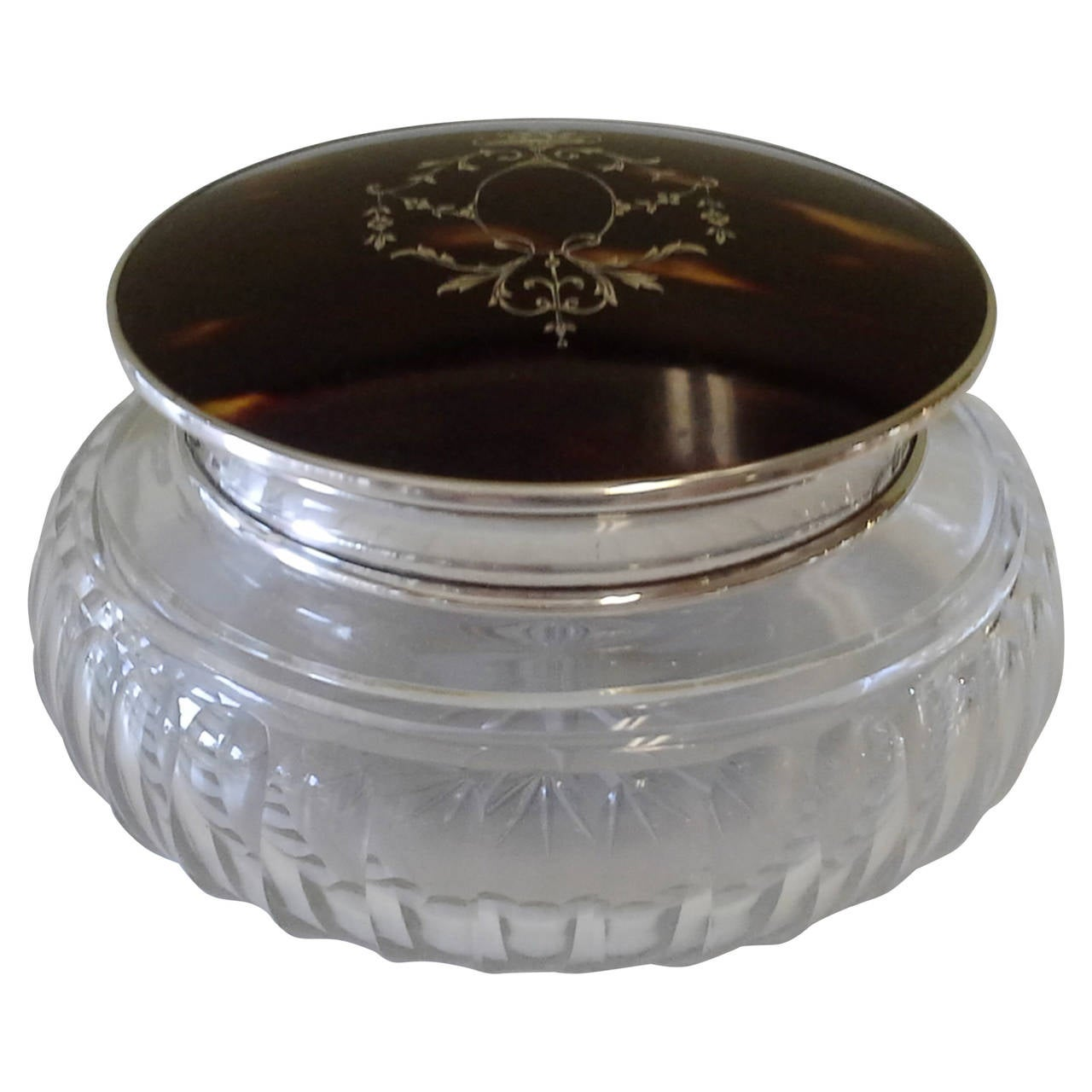 English Tortoiseshell & Sterling Silver Powder Jar with Inlaid Top