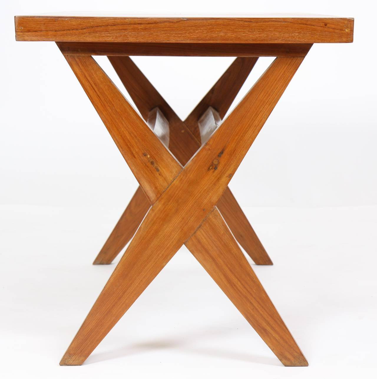 """Pierre Jeanneret (1896-1967) High dining table called : """"Judge lunch table"""" Circa 1954-1955. Solid and veneer teak. Circa 1954-1955. Height: 71 cm - Length: 115 cm - Depth: approx. 66 cm  Origin: Chandigarh, India, private"""