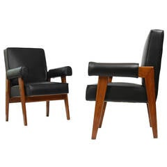 """Set of Two """"Avocat"""" Armchairs by Pierre Jeanneret"""