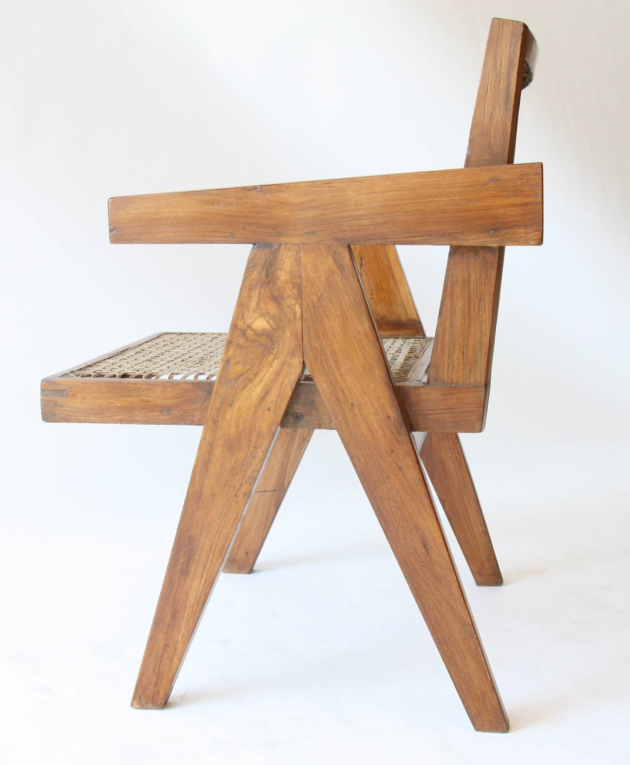 Mid-Century Modern Office Cane Chair by Pierre Jeanneret For Sale