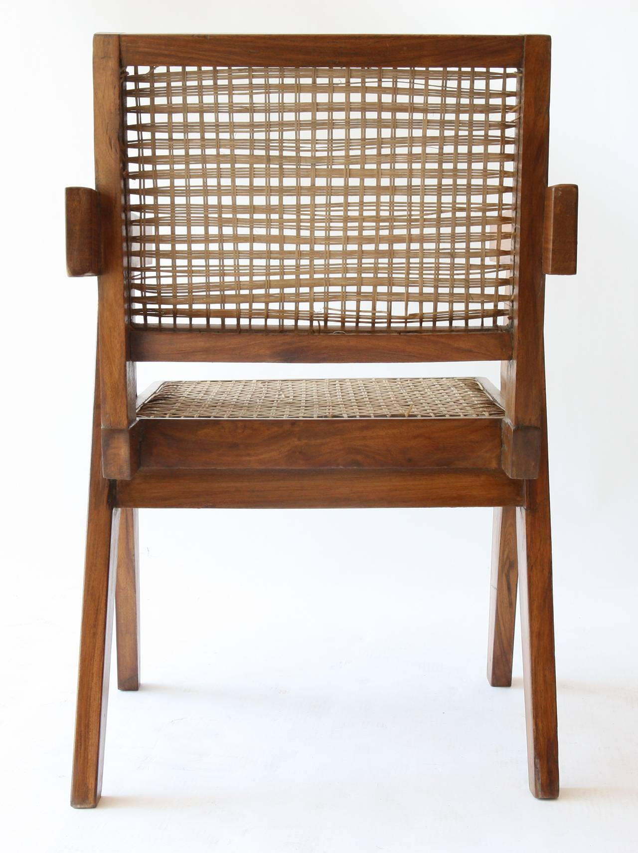 Indian Office Cane Chair by Pierre Jeanneret For Sale