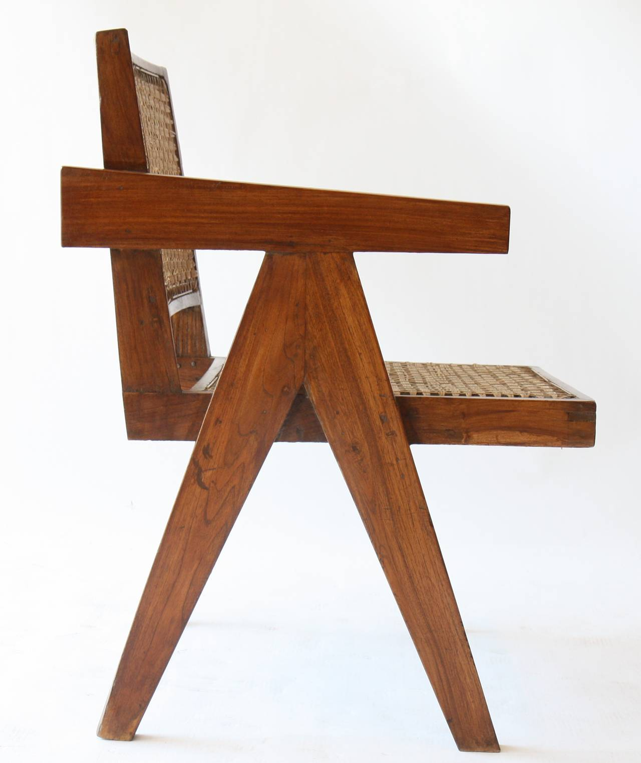 Office Cane Chair by Pierre Jeanneret In Good Condition For Sale In Altwies, LU