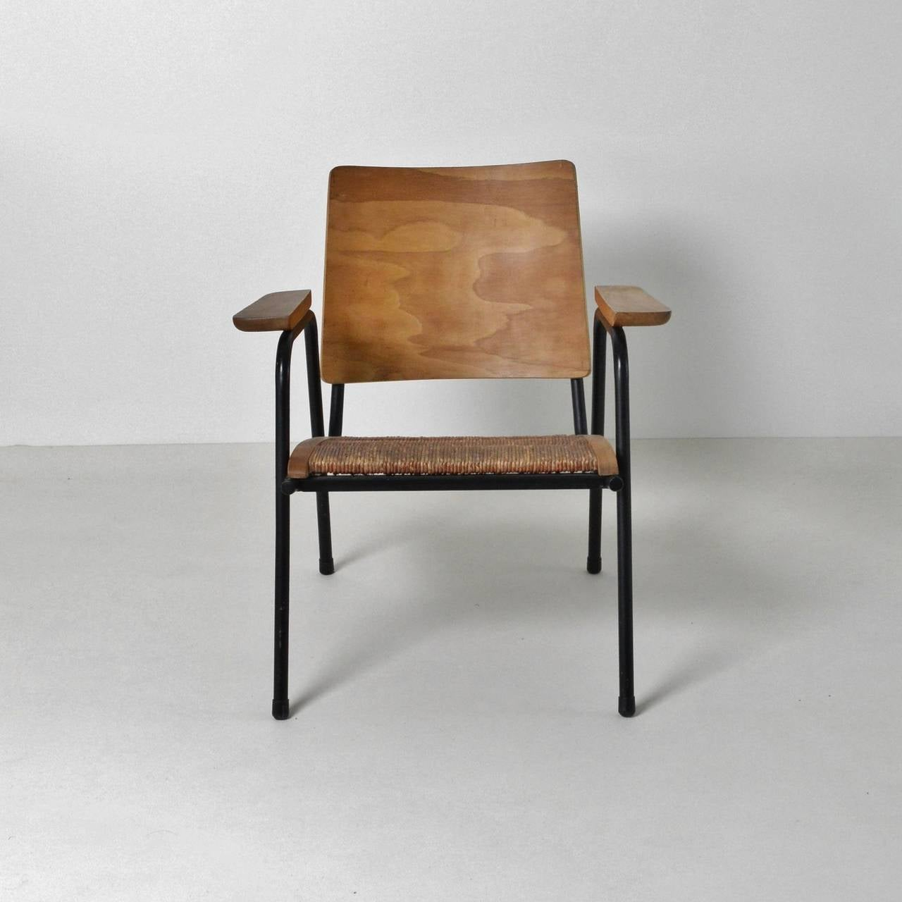 A Striking Pair Of Small Lounge Chairs With Rush Seating, Tubular Frames  With Beech Supports
