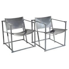 Radboud Van Beekum FM60 Cube Chair in Grey Leather (1 available)