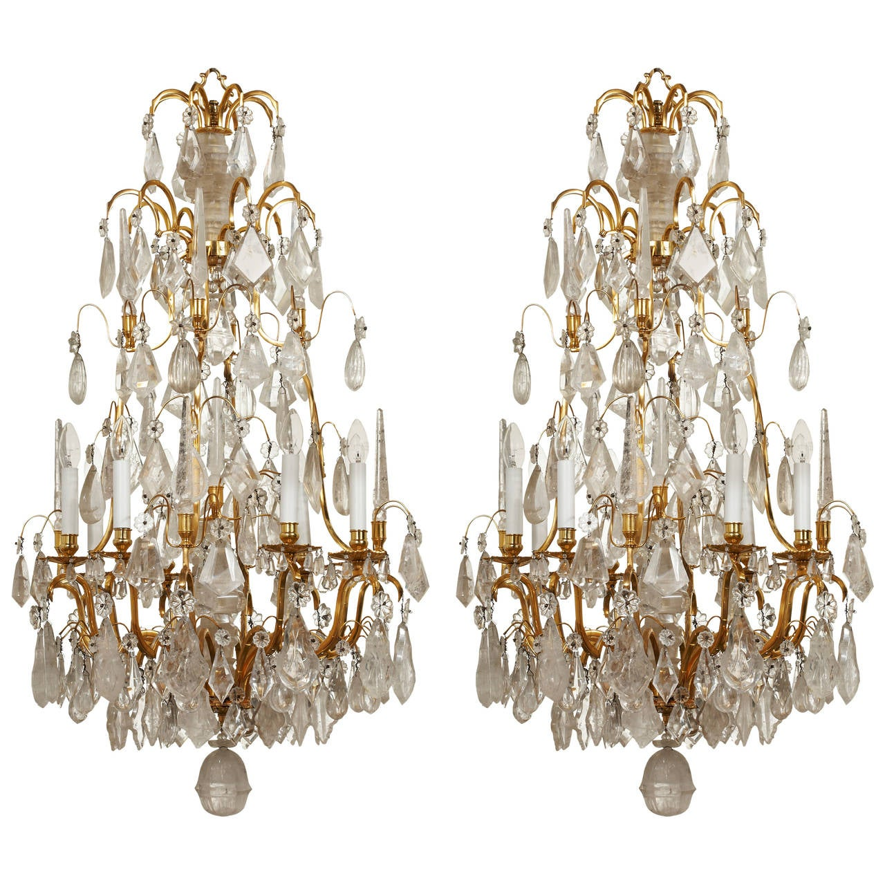 Unique French 18th Century Style Rock Crystal Chandeliers