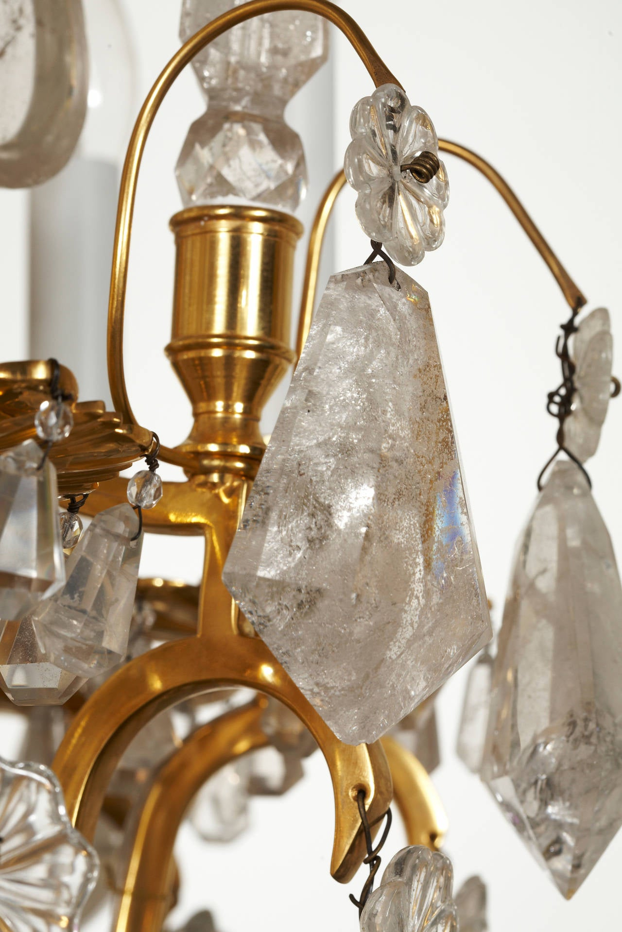 Unique french 18th century style rock crystal chandeliers for Unique chandeliers for sale