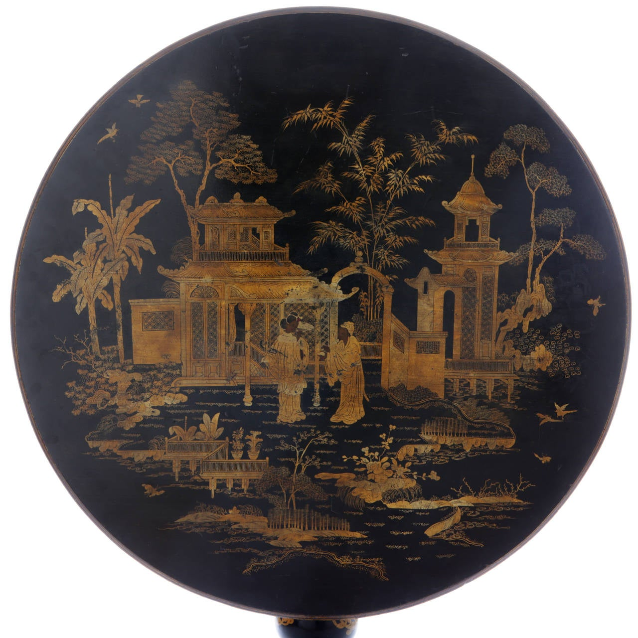 19th Century Lacquered Table With Four Chairs At 1stdibs