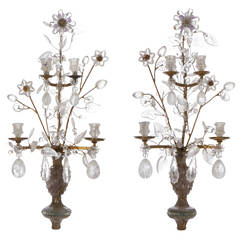 Rock Crystal and Amethyst Floral Design Wall Lights