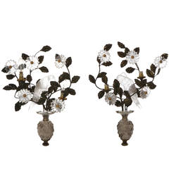 Rock Crystal Floral Design and Parrot Wall Lights