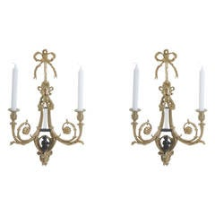 Pair of Gilded Ormolu Wall Lights with Candles