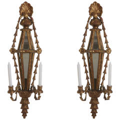 Pair of Italian Wood Gilded Candle Wall Lights