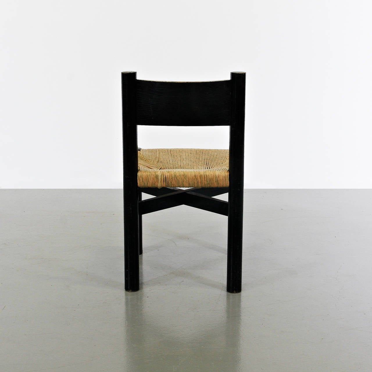 French Rare Charlotte Perriand Low Meribel Chair, circa 1950 For Sale