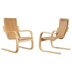 Rare Pair of Alvar Aalto Cantilevered Armchairs, circa 1970