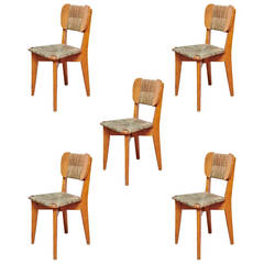 Set of Five French Dinner Chairs, circa 1950