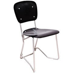 Armin Wirth Mid Century Modern Metal and Wood Swiss Stackable Chairs for Aluflex