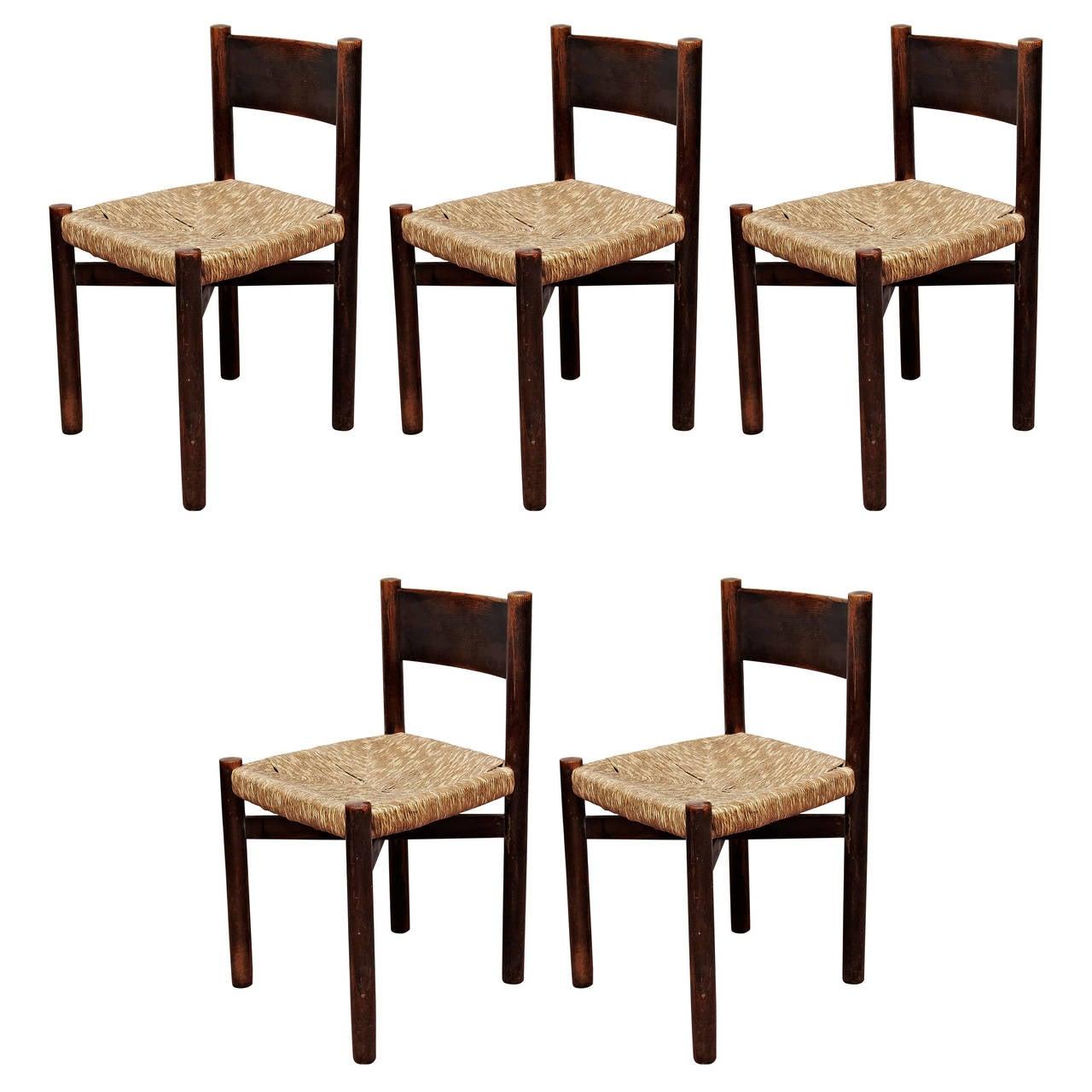 Set of Five Charlotte Perriand Meribel Chair, circa 1950 For Sale